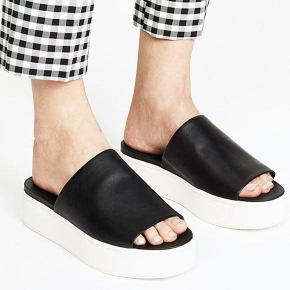 2a64e9107948 Vince. Walford Flatform Black Leather Slide Sandal